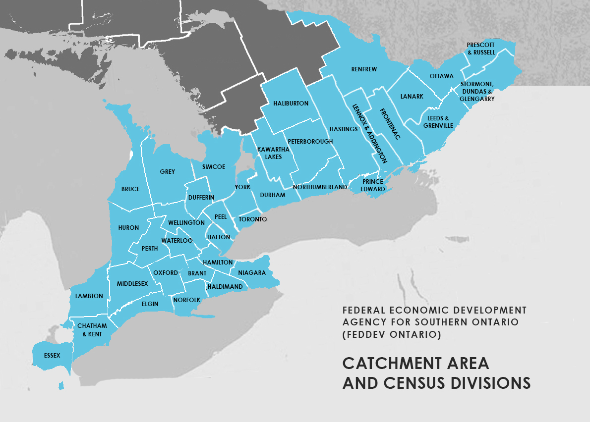 Our role - FedDev Ontario Census Regions Map on
